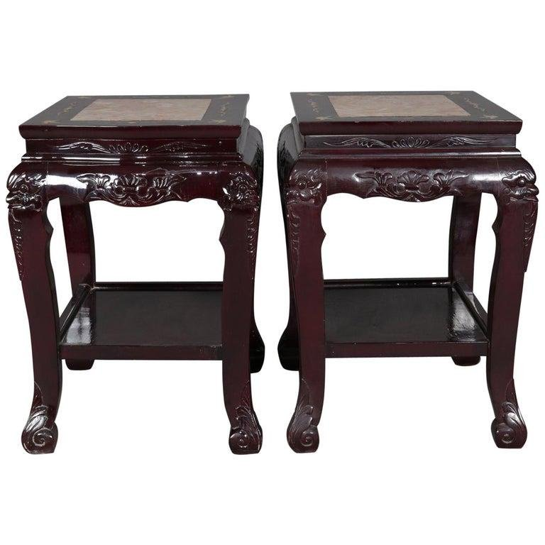 Figural Carved Chinese Mother of Pearl Inlaid End Table