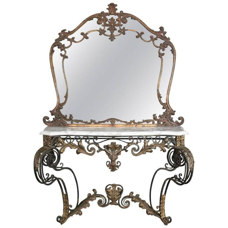 Lg Antique French Louis XIV Gilt & Marble Console Set