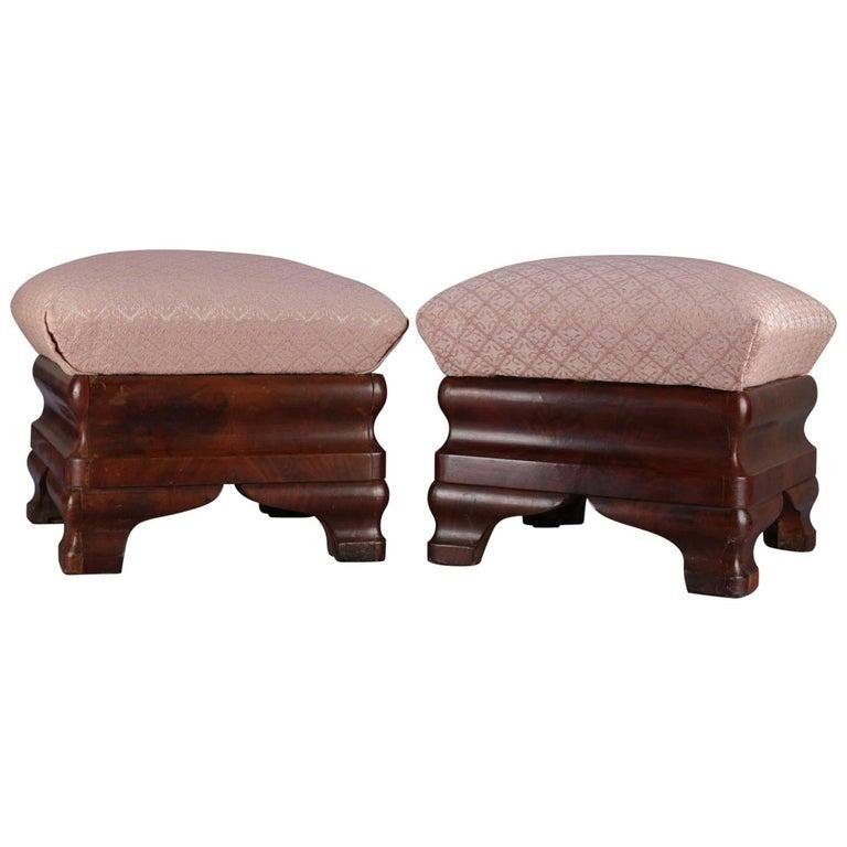 Antique American Empire Ogee Flame Mahogany Footstools
