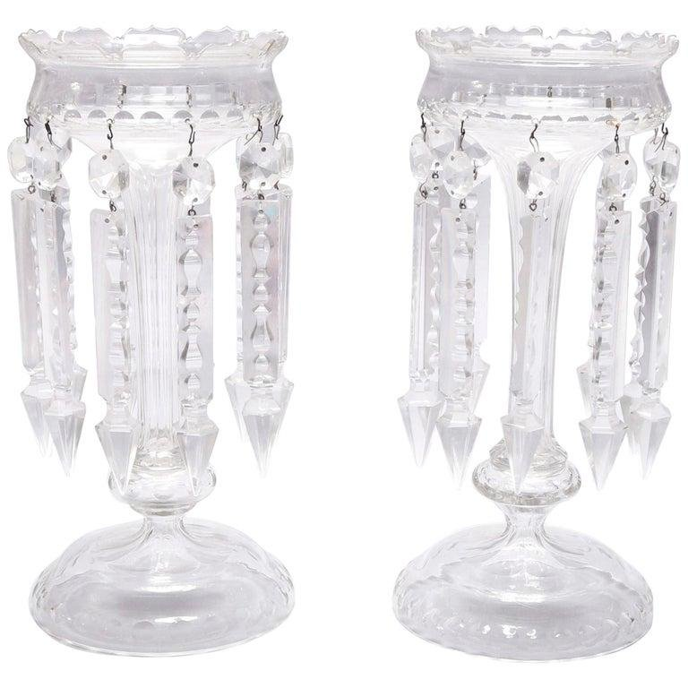 Pair of Antique Crystal Bohemian School Mantel Lusters