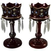 Pair Antique Victorian Bohemian Glass Mantel Lusters