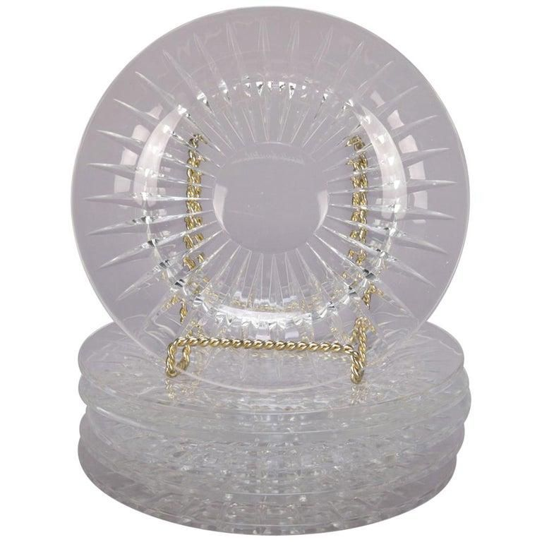 Belgian Val Saint Lambert Cut Crystal Dessert Plates