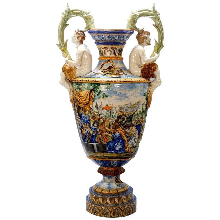 Monumental Antique Figural Majolica Classical Urn c1880