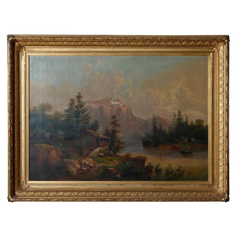 Antique Hudson River School Landscape Oil on Canvas
