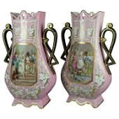 2 Monumental Antique French Pictorial Porcelain Vases