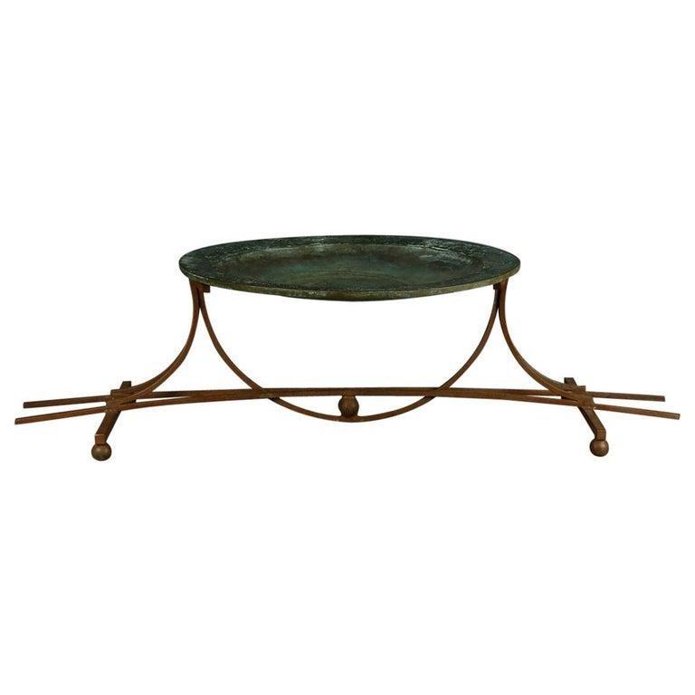 Mid-Century Modern Handcrafted Iron & Bronze Bird Bath