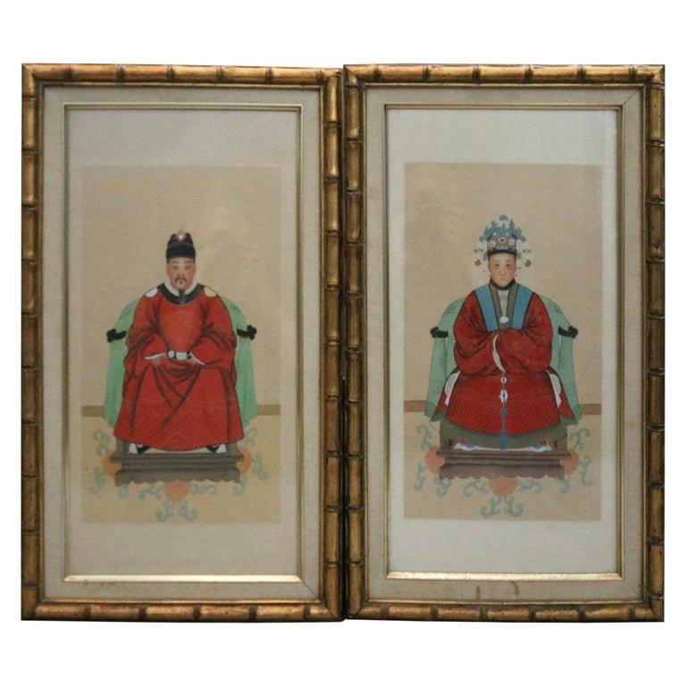 Framed Pair Antique Chinese Ancestral Portrait Prints