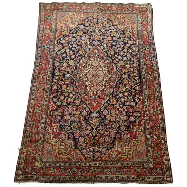 Antique Persian Jozan Sarouk Hand Knotted Rug, c1930