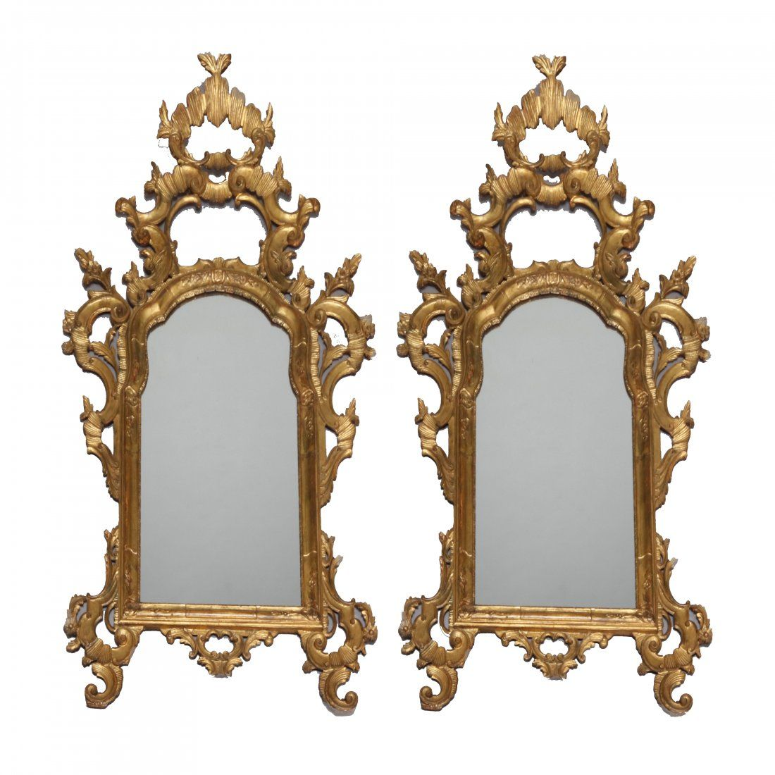 Monumental Antique Italian 18th C Baroque Wall Mirrors