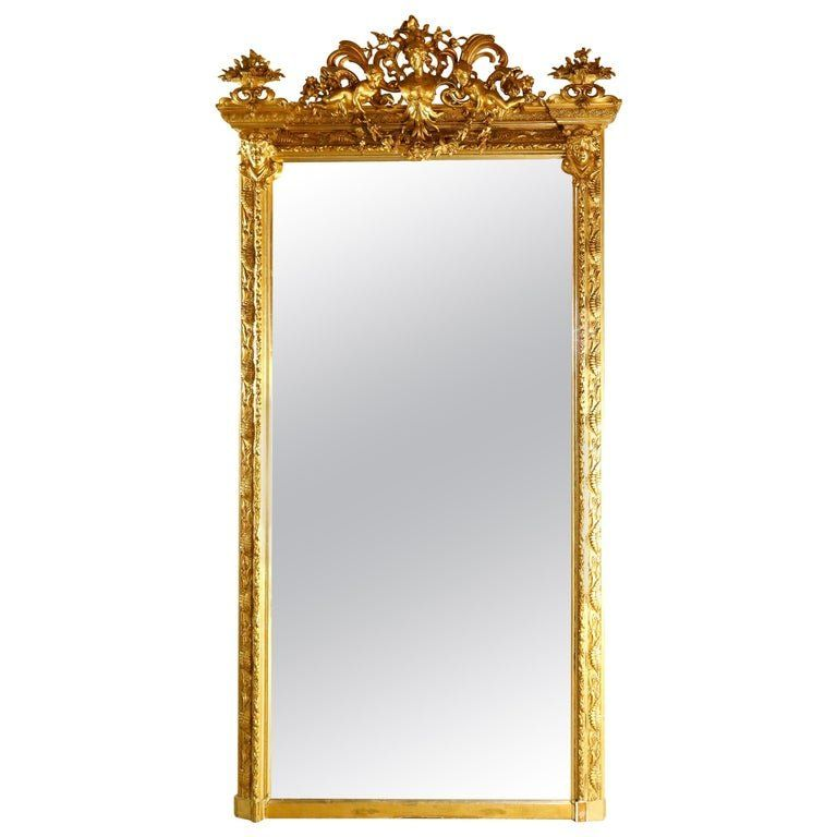 Antique French Classical Baroque Style Gilt Pier Mirror
