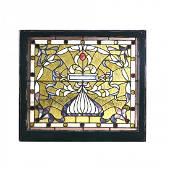 Arts & Crafts Leaded Stained & Jeweled Glass Window