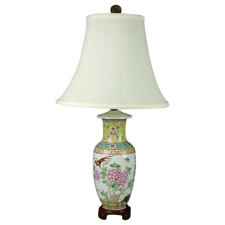 Vintage Chinese Hand Painted Floral Garden Table Lamp