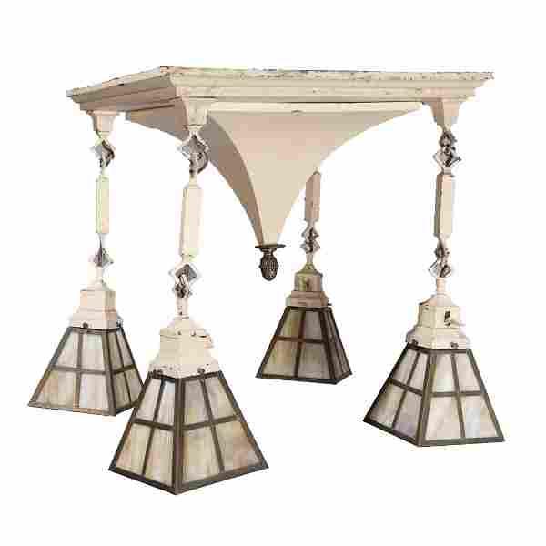 Arts & Crafts Metal & Slag Glass 4-Light Hanging Light