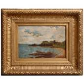 Antique Venetian Oil on Board Coastal Scene, c1875