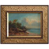 Antique Italian Oil on Canvas of Harbor with Sailboat