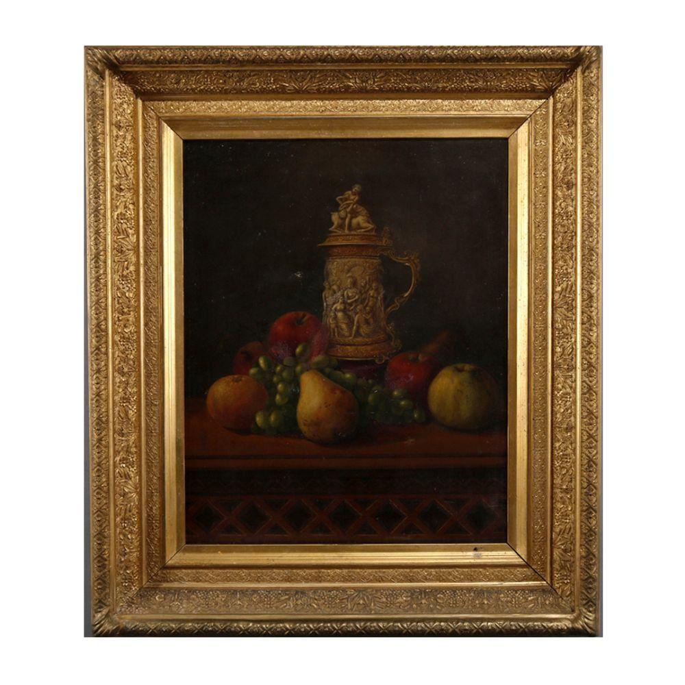 Antique English Oil on Canvas Stein & Fruit Still Life