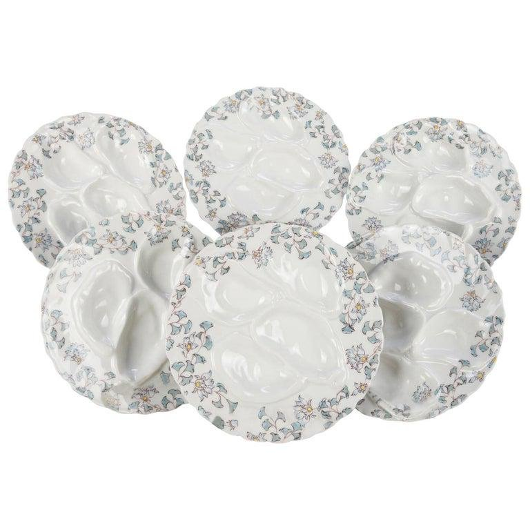 6 French Painted Floral Haviland Limoges Oyster Plates
