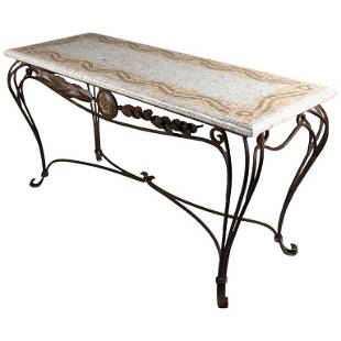 Italian Mosaic Tile Hall Table with Wrought Iron Base