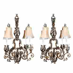 2 Large French Wrought Iron Louis XV Style Chandeliers