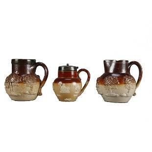 3 Mini Antique Royal Doulton Lambeth Stoneware Vessels