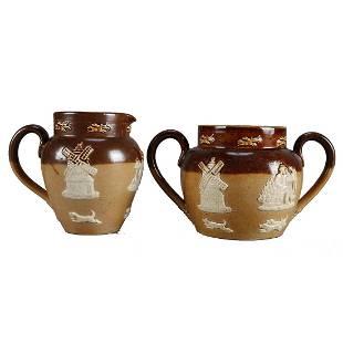 Antique Royal Doulton Lambeth Stoneware CreamSugar Set