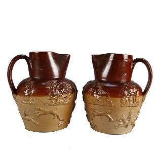 Pair of Royal Doulton Lambeth Stoneware Pitchers