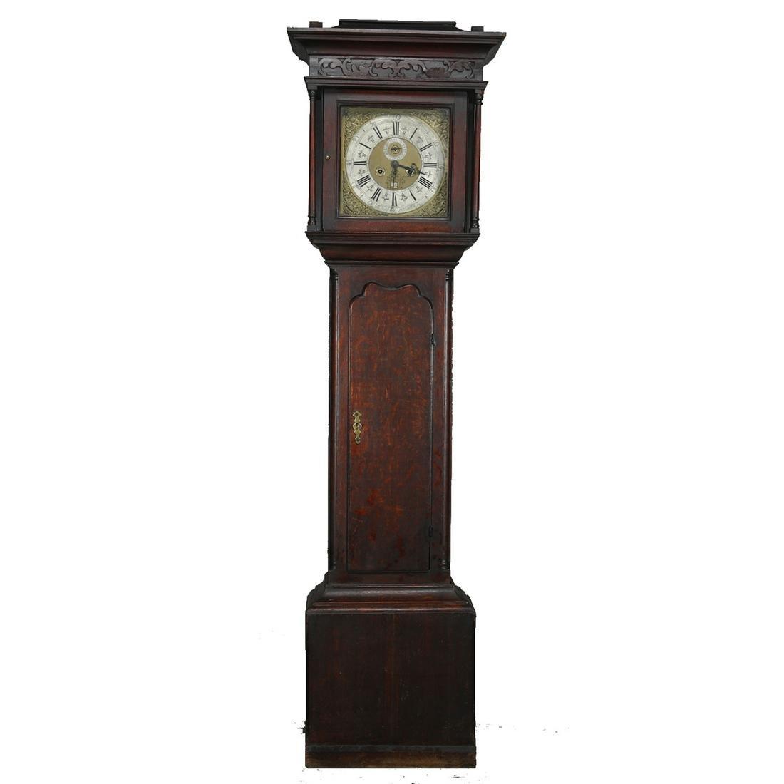 English John Royle Oak Tall Case Clock, 19th C