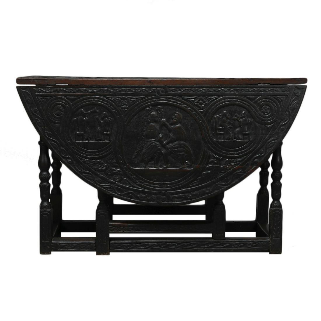 Carved English Jacobean Table, Glastonbury Abbey,17th C