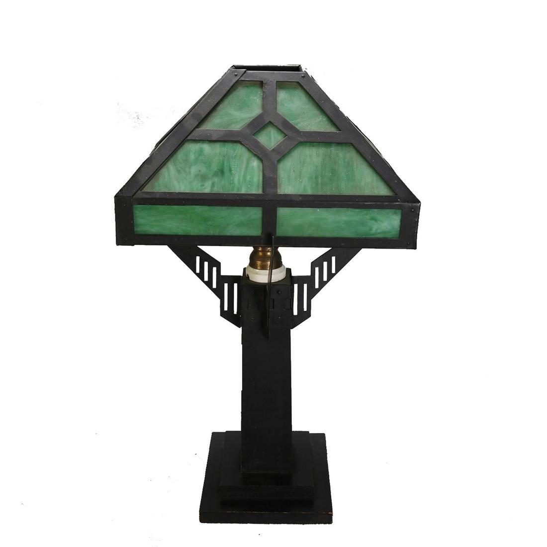 Arts & Crafts Ebonized Mission Oak Lamp, c1910