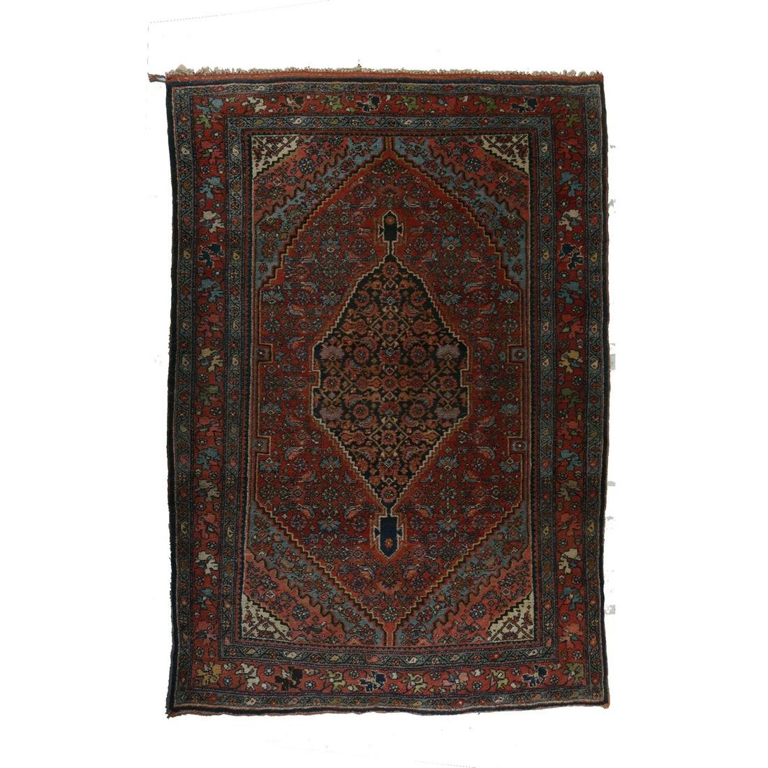 Antique Persian Bidjar Stylized Floral Area Rug, c1920