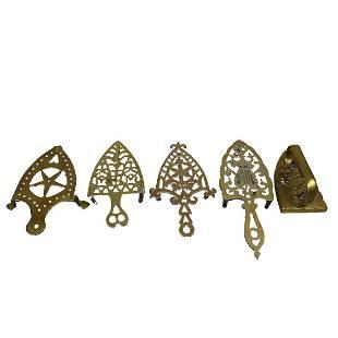 5 Assorted Brass Pieces Fireplace Trivets Iron