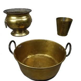 3 Assorted Brass Buckets