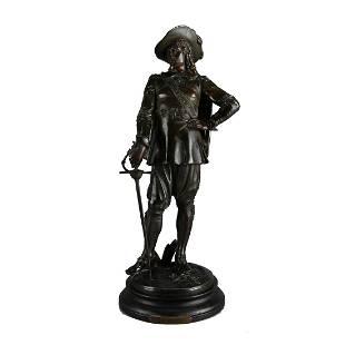 Bronzed Metal Sculpture Un Duel Ponce de Leon
