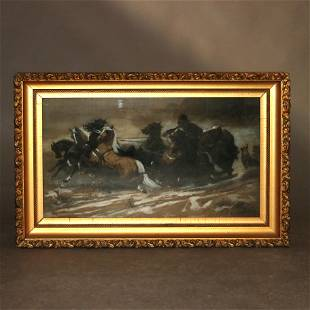 Schreyer Pastel Print of Chased by Wolves in Giltwood