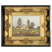 Antique Shadowbox Folk Art Oil on Canvas Landscape