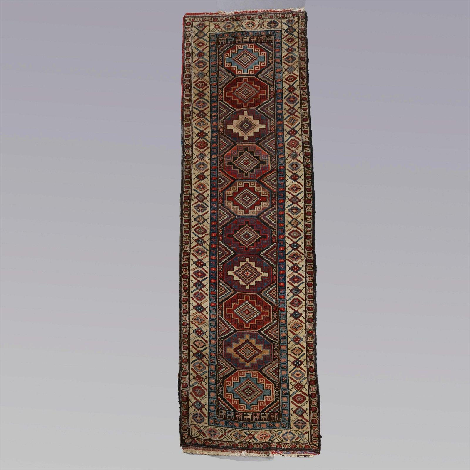 Antique Hand Knotted Caucasian Kazak Tribal Long Rug