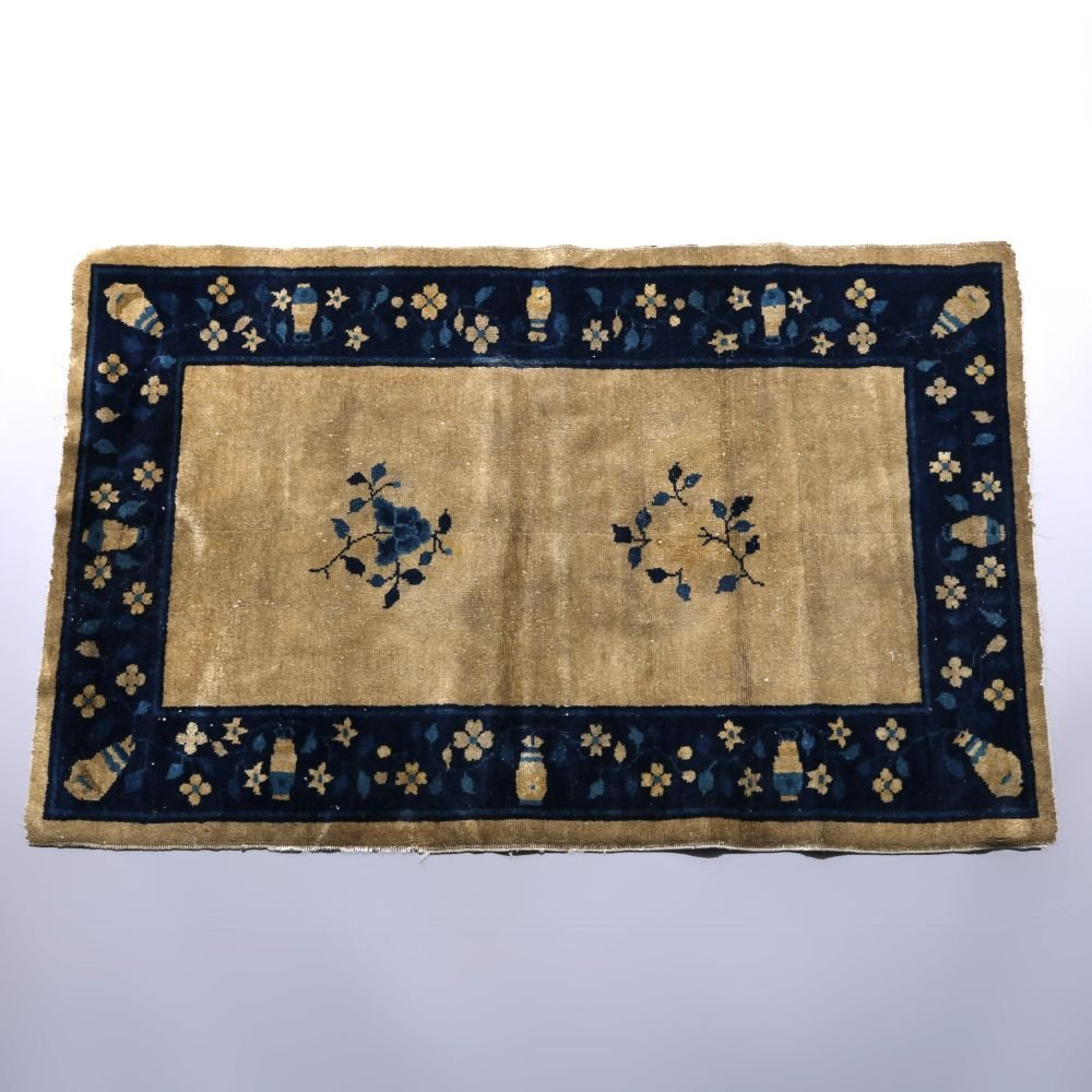 Antique Chinese Peking Oriental Rug, Flowers and Urns