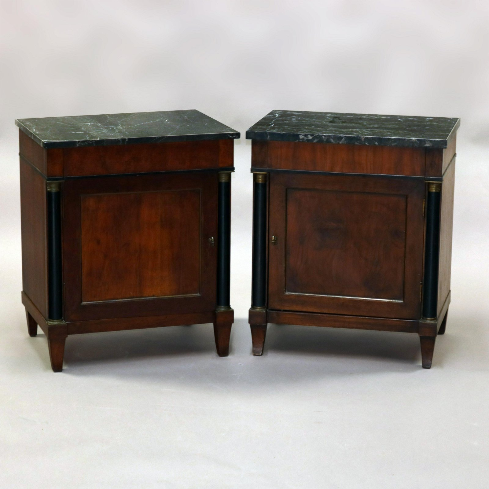 Pair of Antique French Empire Mahogany and Marble Side