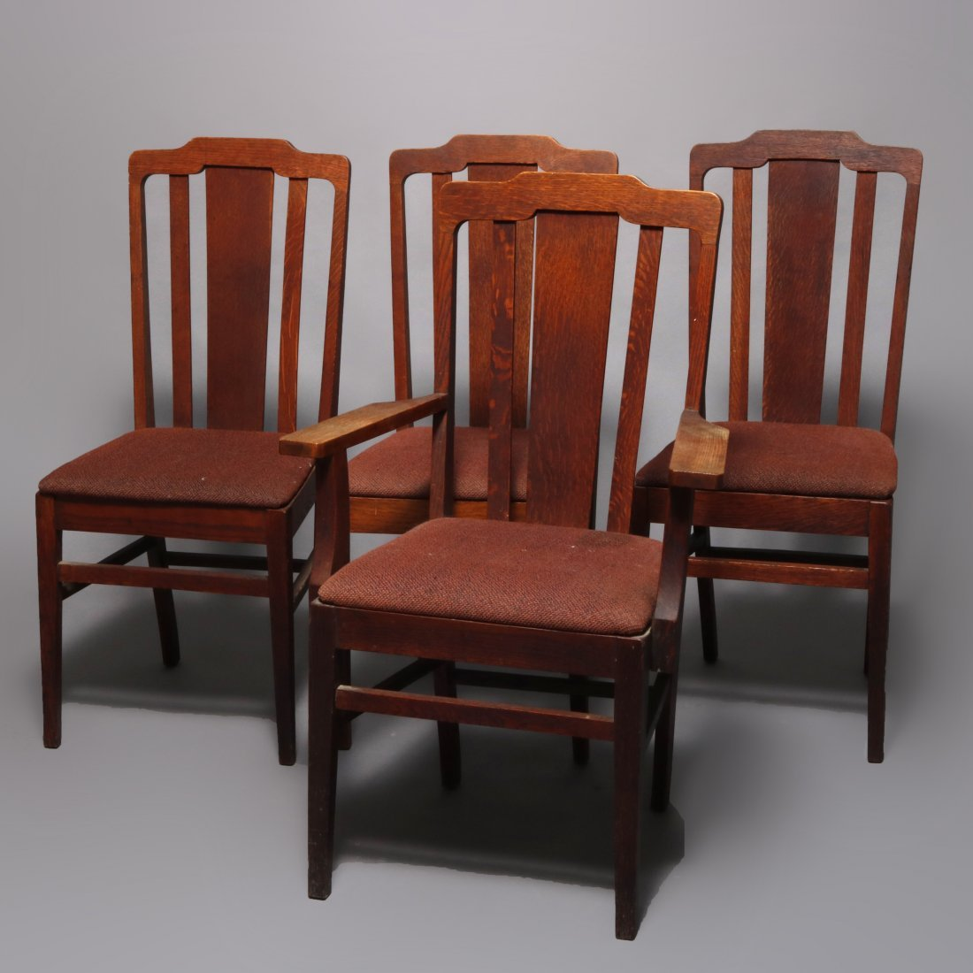 Arts & Crafts Mission Oak Stickley Style Chairs c1910