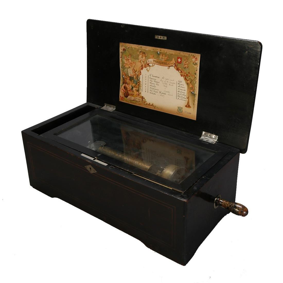 Inlaid Swiss 8-Tune Cylinder Music Box, c1880