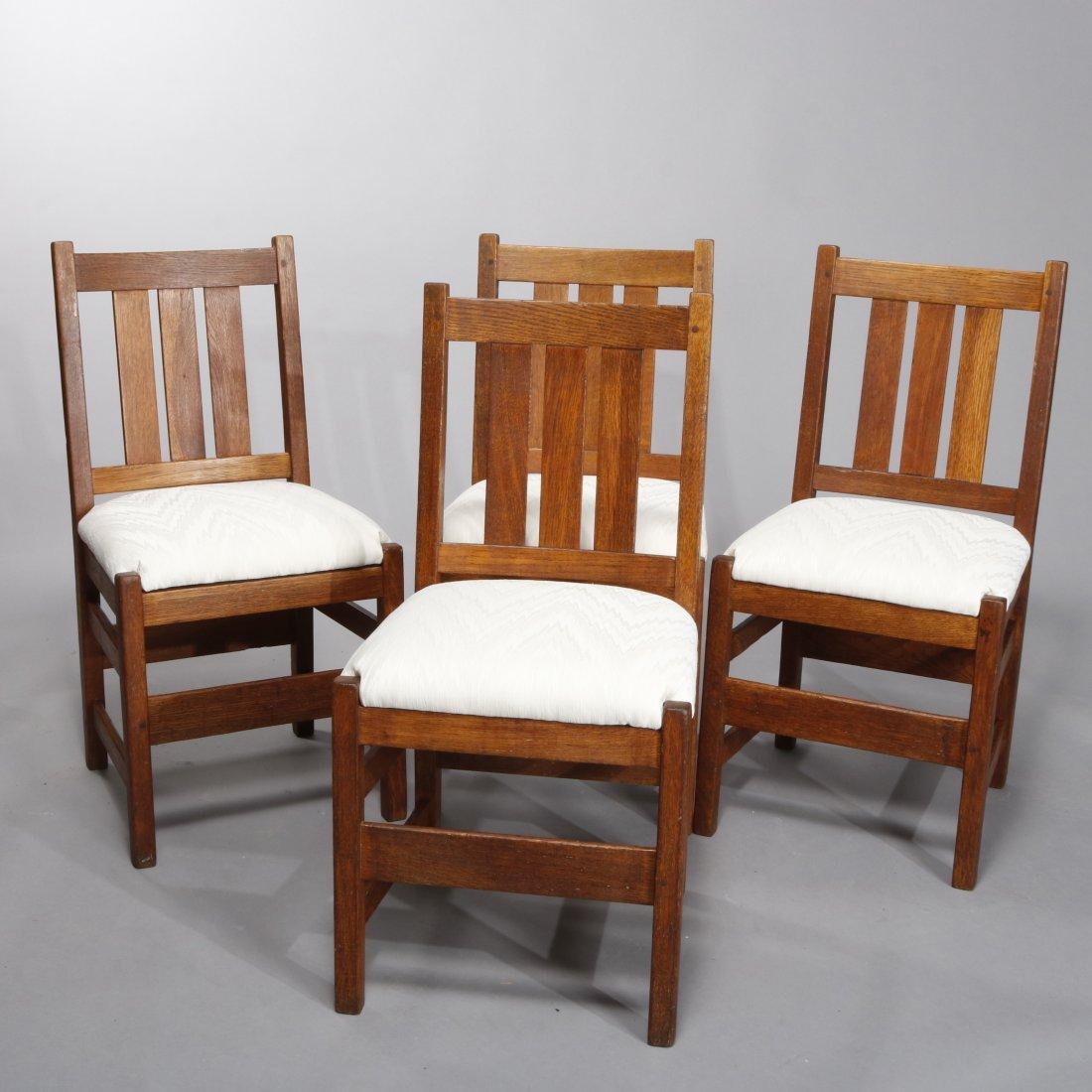Antique Arts & Crafts L& JG Stickley Mission Oak Chairs