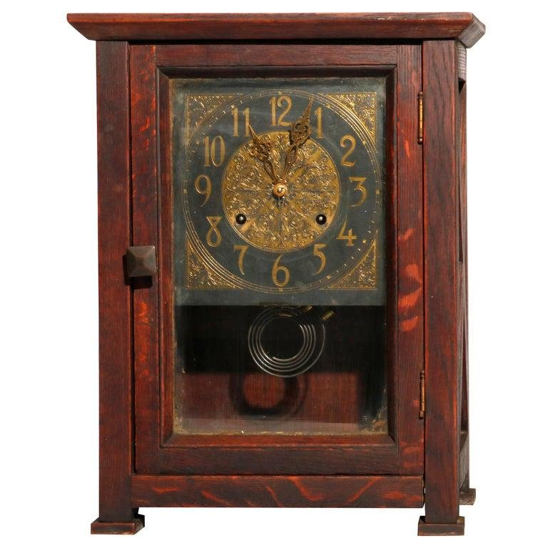 Arts & Crafts Mission Oak Stickley Bros. Style Clock
