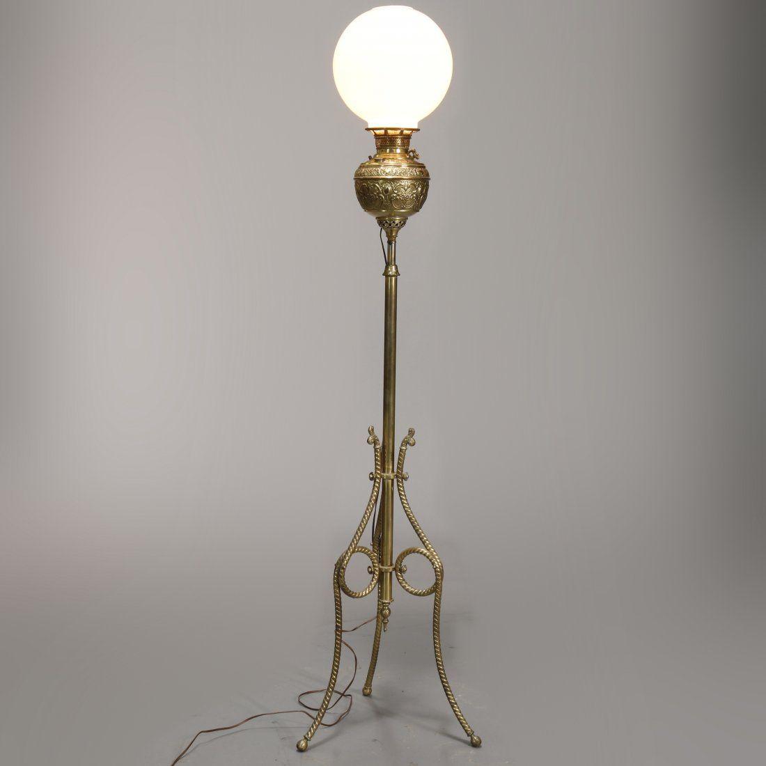 Victorian Brass Juno Banquet Piano Floor Lamp, C 1890