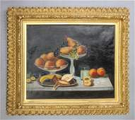 Antique Fruit Still Life Oil Painting In Giltwood Frame
