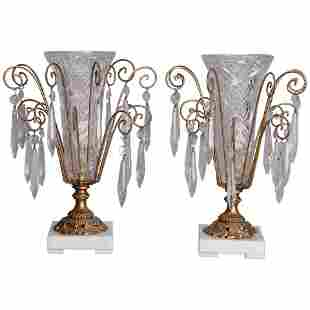 Pair of Victorian Style Cut Glass Boudoir Lights