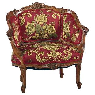 French Louis XV Carved Walnut French Bergère Armchair