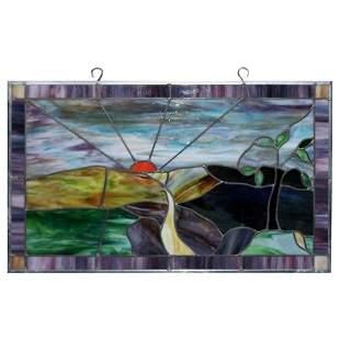 Antique Leaded Slag Glass Panel of Sunrise