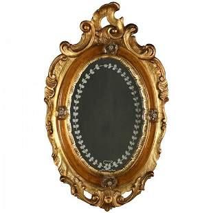 Venetian Rococo Carved Giltwood Diminutive Wall Mirror