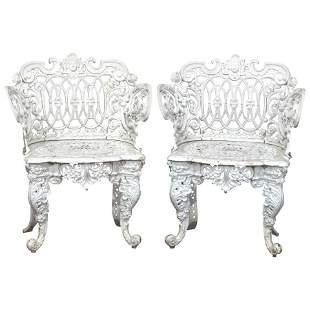 Pair Figural Cast Iron Rococo Garden Chairs