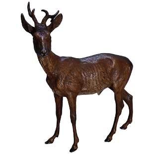 F. Bergman School Large Cold Painted Bronze Deer, c1950